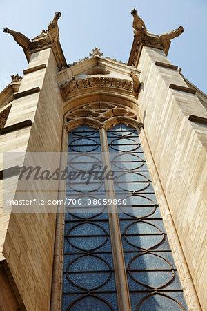 Looking up at Gargoyles of Sainte-Chapelle, Ile de la Cite, Paris, France