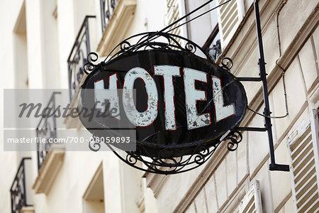 Close-up of Hotel Sign, Paris, France