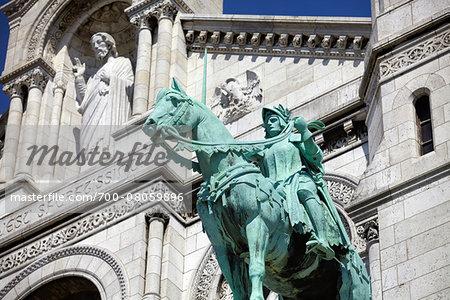 Joan of Arc Statue at Basilique du Sacre Coeur, Montmartre, Paris, France