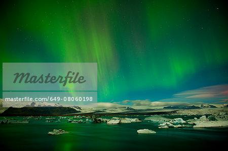 Northern light (Aurora Borealis) over Jokulsa Loni, Skaftafell, South Iceland