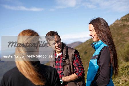 Three hikers, Montseny, Barcelona, Catalonia, Spain