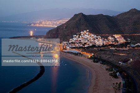 Playa de las Teresitas beach before dawn, Tenerife, Canary Islands, Spain, Atlantic, Europe