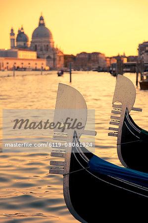 Moored gondolas at Piazza San Marco, Venice, UNESCO World Heritage Site, Veneto, Italy, Europe