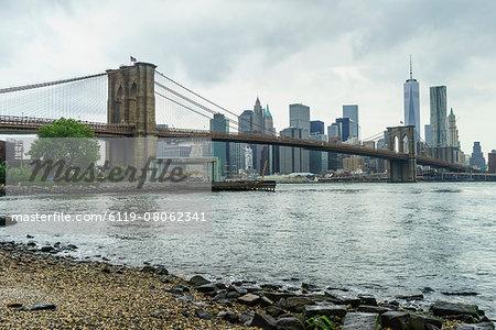 Brooklyn Bridge and Lower Manhattan skyscrapers including One World Trade Center from Brooklyn Bridge Park, New York City, United States of America, North America