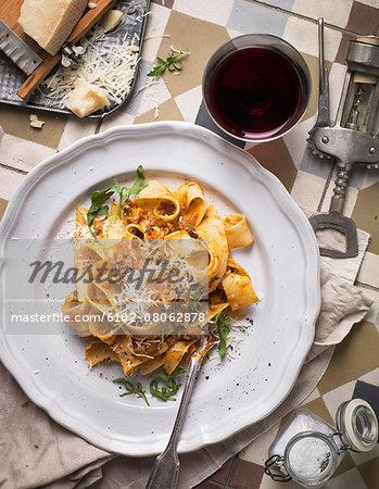 Tagliatelle pasta on plate
