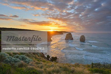 Limestone Stacks at Sunrise