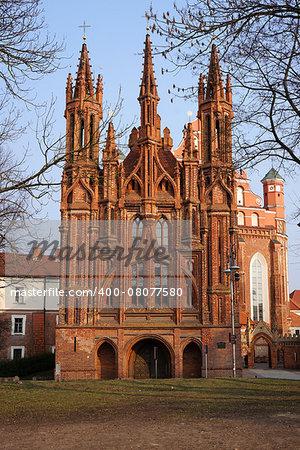 St Anna's Church in Vilnius,  Lithuania.
