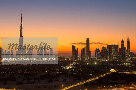 Dubai skyline, the Burj Khalifa, modern architecture and skyscrapers on Sheikh Zayed Road, Dubai, United Arab Emirates, Middle East