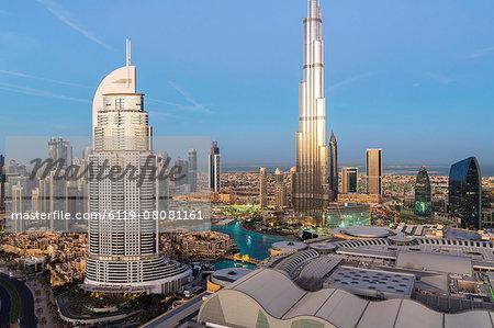 The Burj Khalifa, elevated view looking over the Dubai Mall, Dubai, United Arab Emirates, Middle East