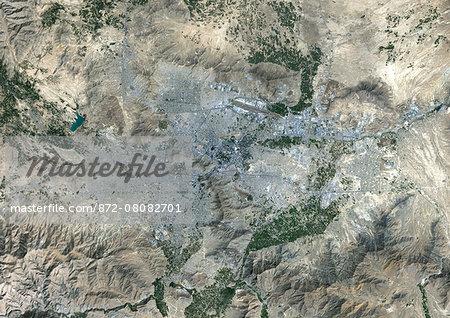 Colour satellite image of Kabul, Afghanistan. Image taken on September 6, 2014 with Landsat 8 data.