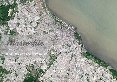 Colour satellite image of Buenos Aires City Center, Argentina. Image taken on November 17, 2014 with Landsat 8 data.