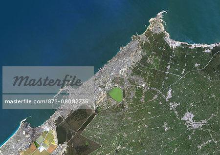 Colour satellite image of Alexandria, Egypt. Image taken on December 23, 2013 with Landsat 8 data.