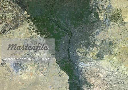 Colour satellite image of Cairo, Egypt. Image taken on December 16, 2013 with Landsat 8 data.
