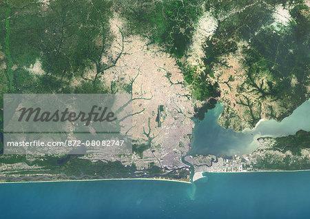 Colour satellite image of Lagos, Nigeria. Image taken on January 19, 2014 with Landsat 8 data.