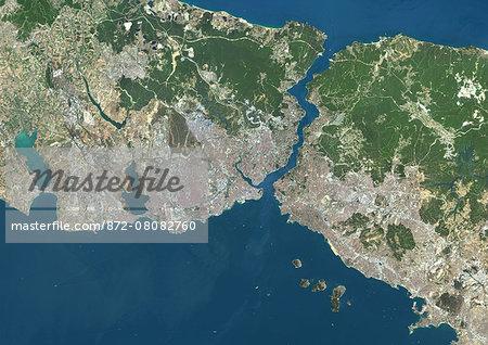 Colour satellite image of Istanbul, Turkey. Image taken on July 30, 2013 with Landsat 8 data.