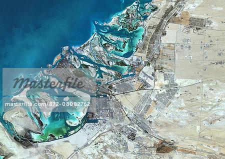 Colour satellite image of Abu Dhabi, United Arab Emirates. Image taken on December 16, 2013 with Landsat 8 data.
