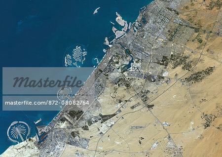 Colour satellite image of Dubai, United Arab Emirates. Image taken on December 25, 2013 with Landsat 8 data.