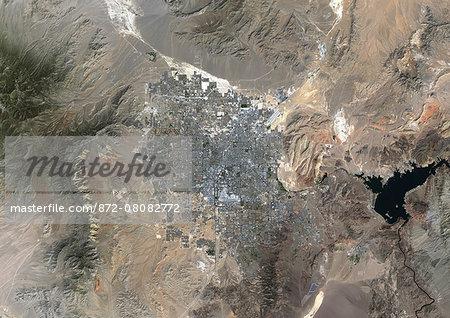 Colour satellite image of Las Vegas, Nevada, USA. Image taken on September 23, 2014 with Landsat 8 data.