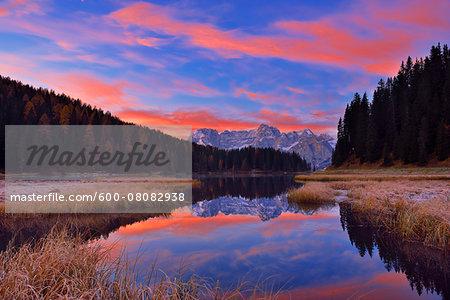 Misurina Lake with Sorapis at Sunrise in Autumn, Cadore, Belluno District, Veneto, Dolomites, Alps, Italy