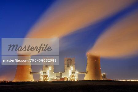Coal Fired Power Station Neurath II at Dawn, Neurath, Bergheim District, North Rhine-Westphalia, Germany