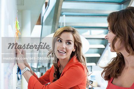 Businesswoman presenting ideas on office whiteboard