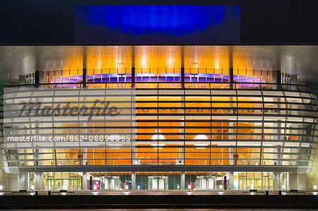 Denmark, Hillerod, Copenhagen. The Royal Opera House at night.