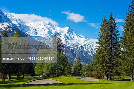 Europe, France, Haute Savoie, Rhone Alps, Chamonix Valley, Chamonix golf club below Mont Blanc mountain range