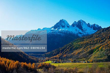 Europe, France, Haute Savoie, Rhone Alps, Chamonix,  Le Tour, autumn landscape below Aiguilles Rouges
