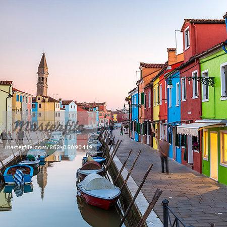 Italy, Veneto, Venice, Burano. Sunset in the town