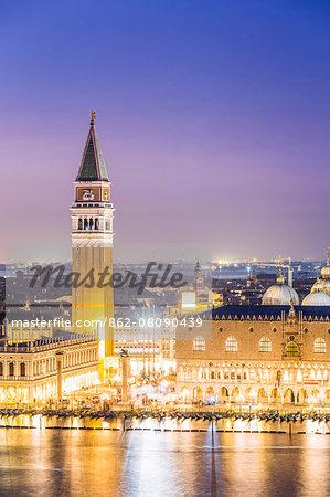 Italy, Veneto, Venice. High angle view of the city at dusk