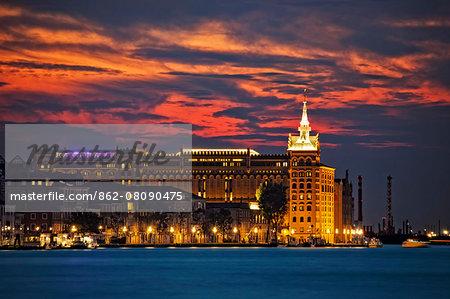 The Hilton Molino Stucky Venice at sunset, Giudecca, Venice, Veneto, Italy.