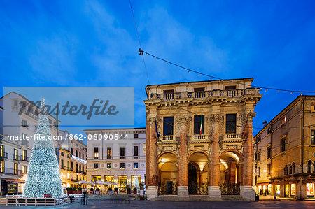 Europe, Italy, Veneto, Vicenza, Christmas decorations in Piazza Signori, Loggia Capitano, Unesco World Heritage Site