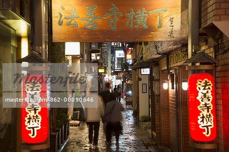 Hozen-ji Yokocho alleyway at night, Dotombori, Osaka, Kansai, Japan