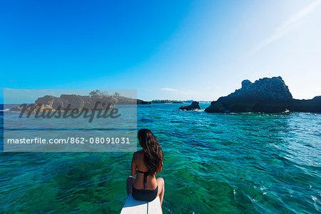 South East Asia, Philippines, The Visayas, Cebu, Malapascua island, girl aboard a catamaran,