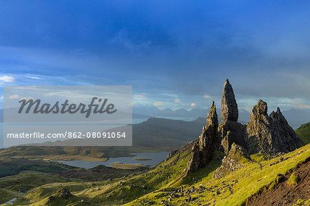 Europe, United Kingdom, Scotland, Skye, Trotternish peninsula, the Storr and the Old Man of Storr