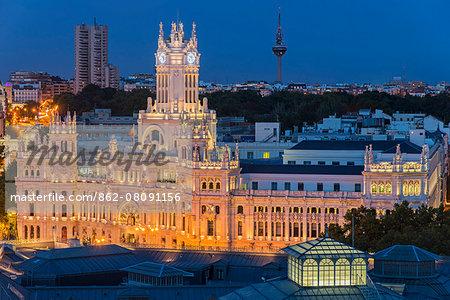 Top view of Cibeles Palace by night, Madrid, Comunidad de Madrid, Spain