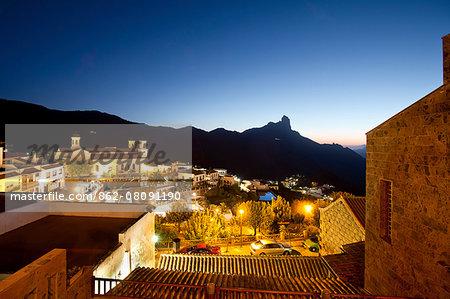 Night view of Tejeda and Roque Bentayga, Gran Canaria, Canary Islands, Spain
