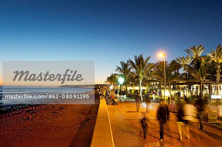 Promenade at dusk, Maspalomas, Gran Canaria, Canary Islands, Spain
