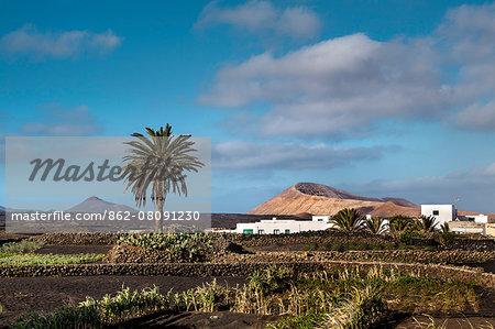 Village Mancha Blanca in front of Caldera Blanca, Lanzarote, Canary Islands, Spain