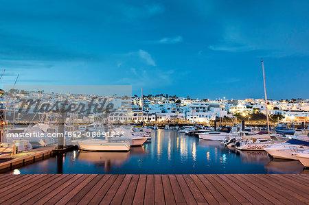 Dusk, harbour La Tinosa, El Puerto, Puerto del Carmen, Lanzarote, Canary Islands, Spain