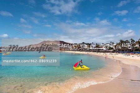 Beach, Playa Flamingo, Playa Blanca, Lanzarote, Canary Islands, Spain