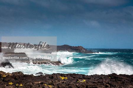 Rough sea, Los Cocoteros, Guatiza, Lanzarote, Canary Islands, Spain
