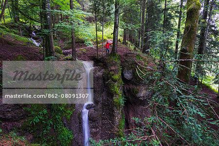 Europe, Switzerland, canton of Schwyz, Mt Rigi, waterfall MR