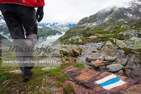 Europe, Switzerland, Sustenpasse, hiker on a hiking trail MR
