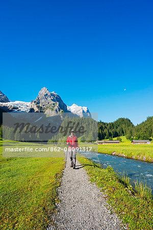Europe, Switzerland, Swiss Alps Jungfrau-Aletsch Unesco World Heritage site, Berner Oberland Alpine Pass Route between Meiringen and Grindelwald, Klein Wellhorn (2701m) MR
