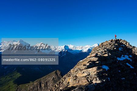 Europe, Switzerland, Swiss Alps Jungfrau-Aletsch Unesco World Heritage site,  Wetterhorn 3692m above Grindelwald MR