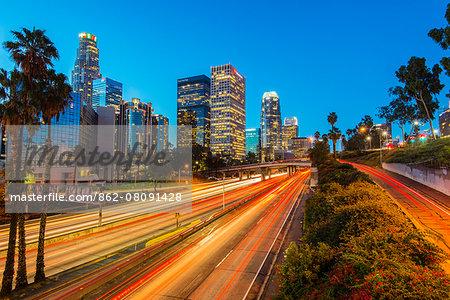 Downtown skyline at sunrise, Los Angeles, California, USA