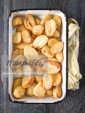close up of a tray of crispy roasted potato