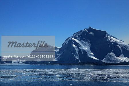 Icebergs against blue sky, Arctic Ocean, Greenland