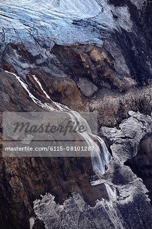 Vatnajökull glacier with frozen waterfall, Landmannalaugar, Iceland